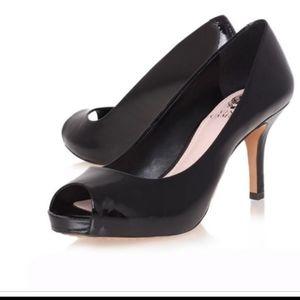 Vince camuto black leather peep toe heels